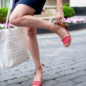 Jcrew lace up sandals with tassel